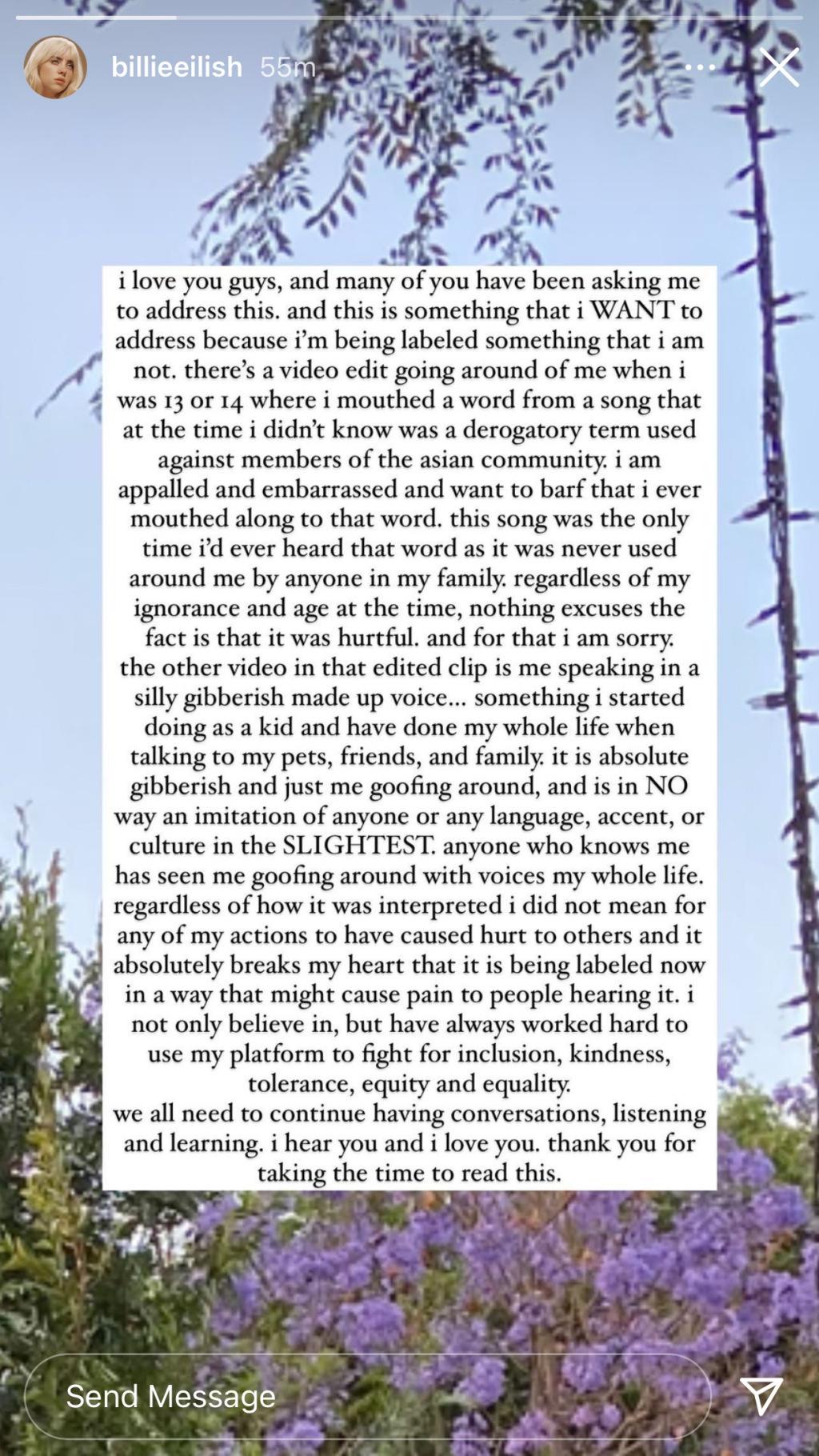Câu chuyện trên Instagram của Billie Eilish