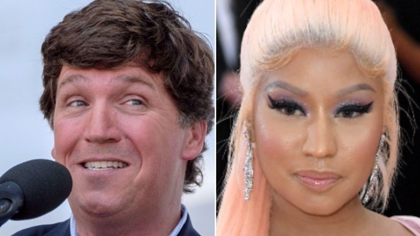 Tucker Carlson thực hiện cuộc gọi trực tuyến cho một người bạn bị sưng tấy từ anh họ của Nicki Minaj
